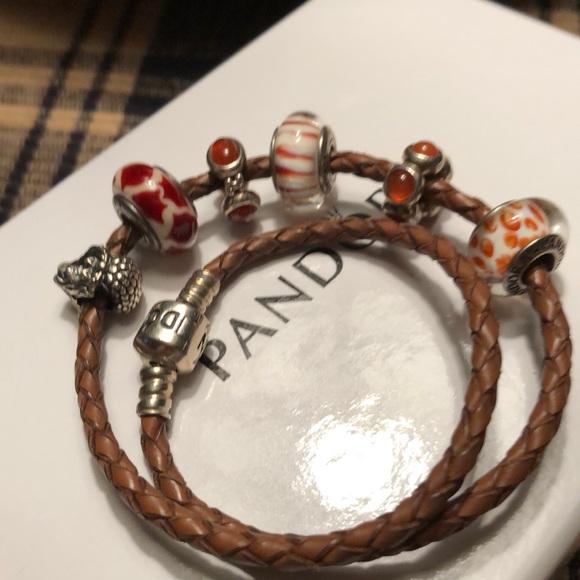 Pandora Jewelry - Pandora leather Bracelet W 6 retired charms